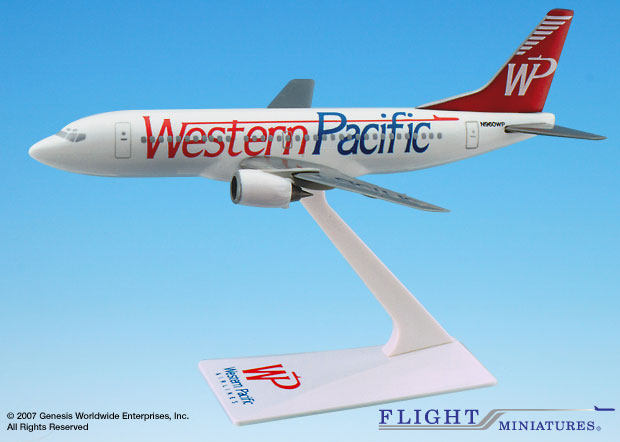 "Western Pacific 737-300 ""Standard"" (1:200), Flight Miniatures Snap-Fit Airliners, Item Number BO-73730H-011"