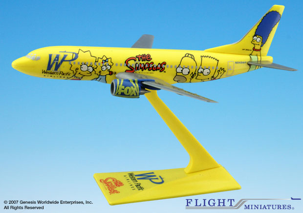 "Western Pacific 737-300 ""Simpsons"" (1:200), Flight Miniatures Snap-Fit Airliners, Item Number BO-73730H-500"