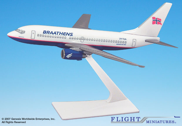 Braathens 737-700 (1:200), Flight Miniatures Snap-Fit Airliners, Item Number BO-73770H-006