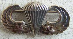 Paratrooper Badge with two combat stars Sterling, Weingarten Gallery Item Number P-1272-2