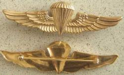 USMC Paratrooper Badge Sterling Pin back, Weingarten Gallery Item Number P-1555P