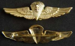 USMC Paratrooper Badge Sterling Gold Plate Pathfinder by Weingarten Gallery Item Number: P-1555SF