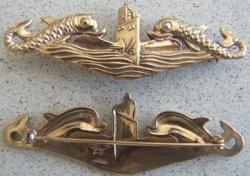 WWII Submarine Deep Wave Badge Sterling Gold, Weingarten Gallery Item Number P-1397