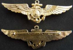 WWII USMC Pilot Wing sterling w gold, Weingarten Gallery Item Number P-1687N