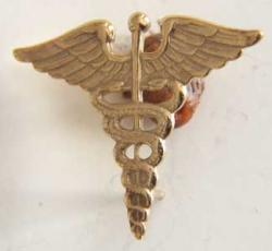 WWII Army Medical Corp Collar Sterling Gold Plate, Weingarten Gallery Item Number P-1136