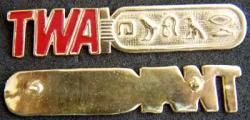TWA Hieroglyph Name Tag Sterling, Weingarten Gallery Item Number P-1776