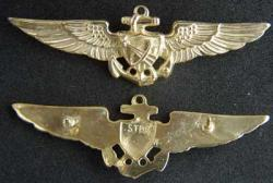 Navy Astronaut Wings Sterling w Gold, Weingarten Gallery Item Number P-752