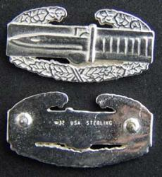 Combat Action badge Mess Dress size Sterling, Weingarten Gallery Item Number P-1686
