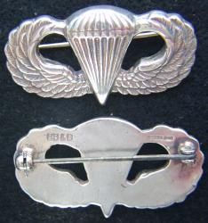 WWII Paratrooper wings BB&B design Sterling, Weingarten Gallery Item Number P-2103