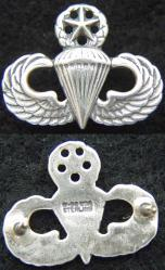 Master Paratrooper Mess Dress Badge Sterling Oxidized, Weingarten Gallery Item Number P-2125X