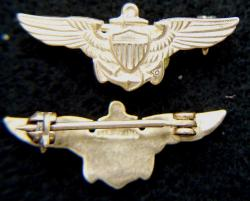 WWII Coast Guard Pilot Oversea Hat Wings Sterling Gold Plate, Weingarten Gallery Item Number P-2126