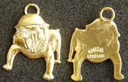 WWII USMC Bull Dog Charm  Sterling Silver Gold Plate, Weingarten Gallery Item Number P-1889C