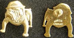 WWII USMC Bull Dog Tie Tack  Sterling Silver Gold Plate, Weingarten Gallery Item Number P-1889TT