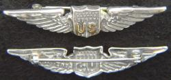 WWI US Pilot Wings Shirt Size Sterling with Gold Plate, Weingarten Gallery Item Number P-2175