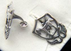 10th Special Forces 1950s beret badge Sterling Silver Cuff Links, Weingarten Gallery Item Number P-2176CL