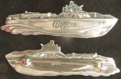 WWII Higgins PT Boat Sterling Silver pin back, Weingarten Gallery Item Number P-2204