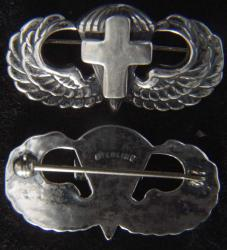 WW II Chaplain Paratrooper Wing Sterling Pin Back with Latin Cross, Weingarten Gallery Item Number P-2237