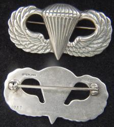 Post WWII Paratrooper Badge BB&B Design Sterling Pin Back, Weingarten Gallery Item Number P-2252