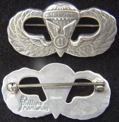 Post WWII, 11th Airborne Paratrooper Badge Sterling, Weingarten Gallery Item Number P-2253