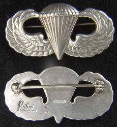 Sterling Paratrooper badge pin back, Phillips Publications, Weingarten Gallery Item Number P-2255