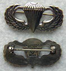 WWII Paratrooper Sterling Silver Badge Meyer pin back, Weingarten Gallery Item Number P-2278