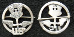 WWI Enlisted Aviation Oversea Hat Badge Sterling Silver, Weingarten Gallery Item Number P-2291