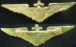 1930's Pre WWII Navy Pilot Wing Gold over Brass, Weingarten Gallery Item Number P-1187B