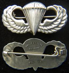 WWII Paratrooper Badge Angus and Coote Sterling Silver by Weingarten Gallery Item Number: P-2344