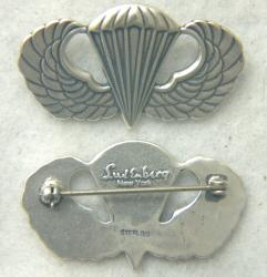 WWII US Paratrooper Wing Badge Luxenberg  Sterling by Weingarten Gallery Item Number: P-2352