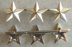 WWII 3 Star insignia Sterling Pin Back, Weingarten Gallery Item Number P-1313