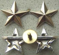 WWII Two Star General Rank Sterling Silver  Screw back, Weingarten Gallery Item Number P-1316S