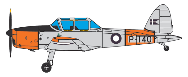 DHC1 Chipmunk - Danish Trainer 140 (1:72), Aviation72 Diecast Airlines Item Number AV72-26012