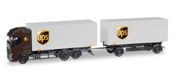UPS - Volvo FH Gl Box Truck with Trailer (1:87), Herpa HO Scale Models, Item Number HE308823