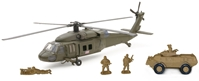 Military Vehicle Playset Playset includes: Sikorsky UH-60 Black (1:60)