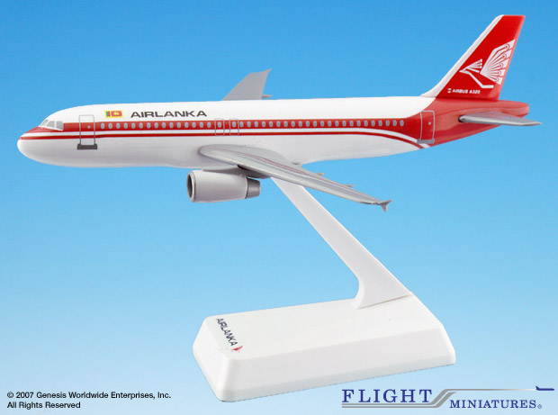 Air Lanka (79-99) A320-200 (1:200), Flight Miniatures Snap-Fit Airliners Item Number AB-32020H-019