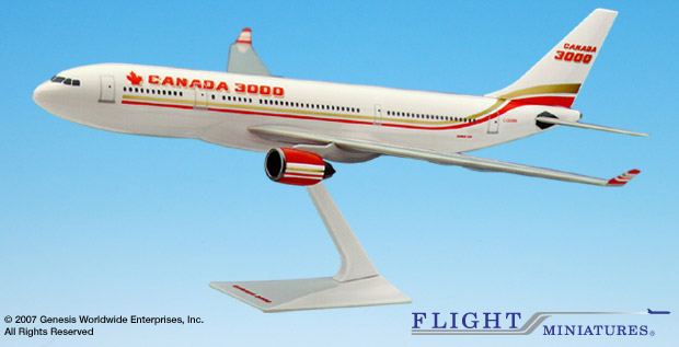 Canada 3000 A330-200 (1:200), Flight Miniatures Snap-Fit Airliners Item Number AB-33020H-004