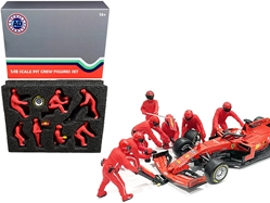 Formula One F1 Pit Crew 7 Figurine Set Team Red for 1/18