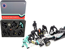 Formula One F1 Pit Crew 7 Figurine Set Team Black for 1/18