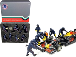 Formula One F1 Pit Crew 7 Figurine Set Team Blue for 1/18