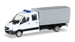 German Federal Army - Mercedes-Benz Sprinter Double Cab Flatbed Truck with Canvas Top (1:87), Herpa Item Number HE700665