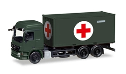 Red Cross - Mercedes-Benz Actros L Container Truck 1:87 high quality plastic by Herpa Military Vehicles Item Number HE746243