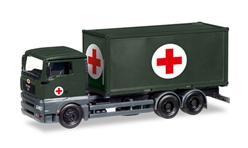 Red Cross - MAN TGA XL Container Truck 1:87 high quality plastic by Herpa Military Vehicles Item Number HE746250