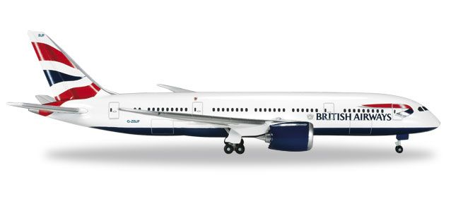 British Airways 787-8 Dreamliner (1:500) G-ZBJF, Herpa 1:500 Scale Diecast Airliners Item Number HE524698-001