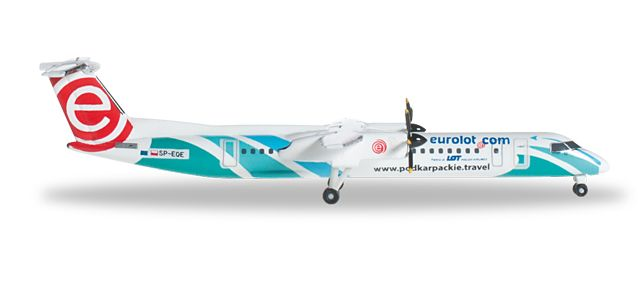 "Eurolot Dash-8-Q400 SP-EQE ""Podkarpackie Travel"" (1:500), Herpa 1:500 Scale Diecast Airliners Item Number HE527088"