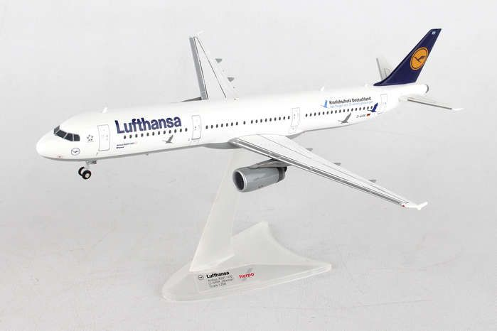 "Lufthansa A321 D-AIRR (1:200) ""25 Jahre Kranichschutz"" ""25 Years of Protecting Cranes"", Herpa 1:200 Scale Diecast Airliners Item Number HE558563"