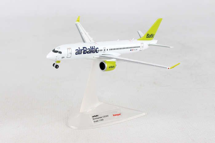 Air Baltic Bombardier CS300 YL-CSA (1:400) - , Herpa 1:400 Scale Diecast Airliners Item Number HE562607